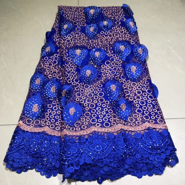 2019 Blue Veritable Tulle Lace With Stones Fabric Floral Embroidery  African Nigerian High Quality Sewing Lace Dress