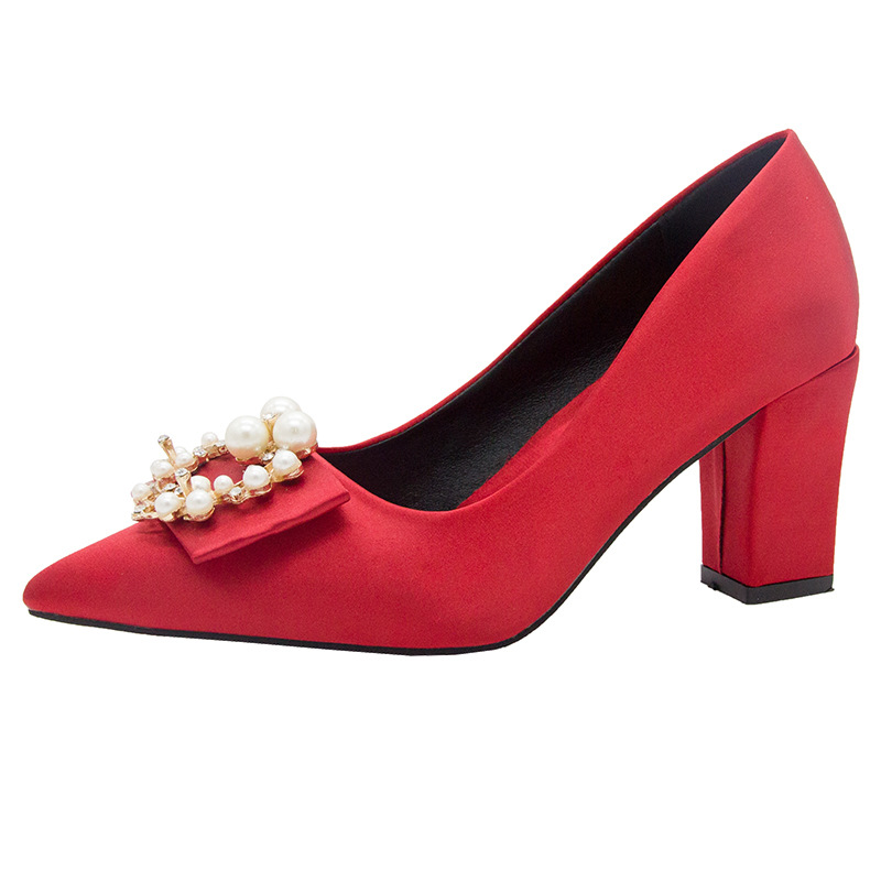 Wedding Shoes Women Red High-Heel Chunky Heels New Style Europe And America Pointed Shoes Bridal Shoes Square Crystal Pearl Drag