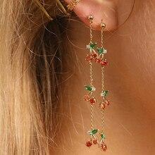цена на Peri'sBox Red Green Triple Cherry Long Dangle Earrings Thin Chain Drop Earrings for Women Sweet Cute Earrings Drops 2019 Fashion