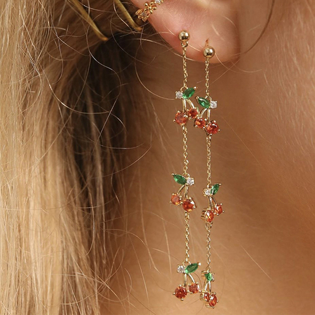 Peri sBox Red Green Triple Cherry Long Dangle Earrings Thin Chain Drop Earrings for Women Sweet.jpg 640x640 - Peri'sBox Red Green Triple Cherry Long Dangle Earrings Thin Chain Drop Earrings for Women Sweet Cute Earrings Drops 2019 Fashion