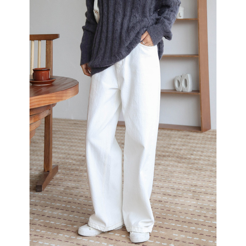 Vadiming Women's Jeans 2019 Korean Version Of The Simple High Waist Jeans Autumn And Winter Loose Straight Wide Leg Pants