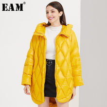 [EAM] Loose Fit yellow Down Jacket New Hooded Long Sleeve Warm Women Parkas Fashion Tide Autumn Winter 2019 1B814