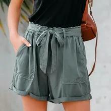 Laamei Elegant Sexy Women Summer Shorts Casual High Waist Shorts Belt Short Pants Femme Fashion Beach Bow Tie Shorts Streetwear