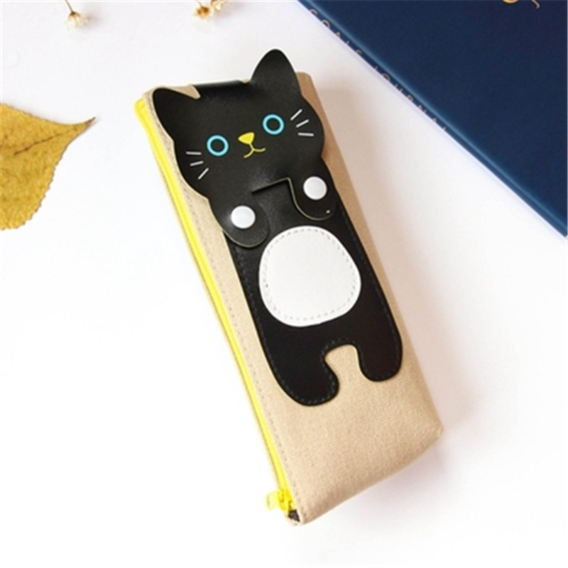 Kawaii Cute Cat Canvas Pencil Case Storage Organizer Pen Bags Pencilcase Pouch School Supply Stationery Cosmetic Makeup Bag Gift (48)