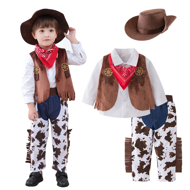 Cool Full Set Baby Kids Cosplay Cowboy Costume Western Cowboy For Halloween Birthday Party Costumes Shirt+Pant+Vest+Hat+Scarf