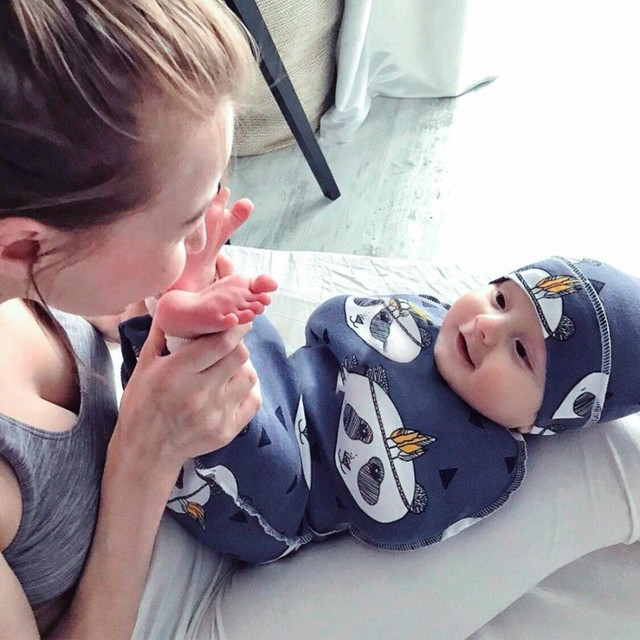 2 Pcs/Set Baby Sleeping Bag And Cap Printed Cute Baby Blanket And Hat Bedding For Newborn Babies Infants Hot 1