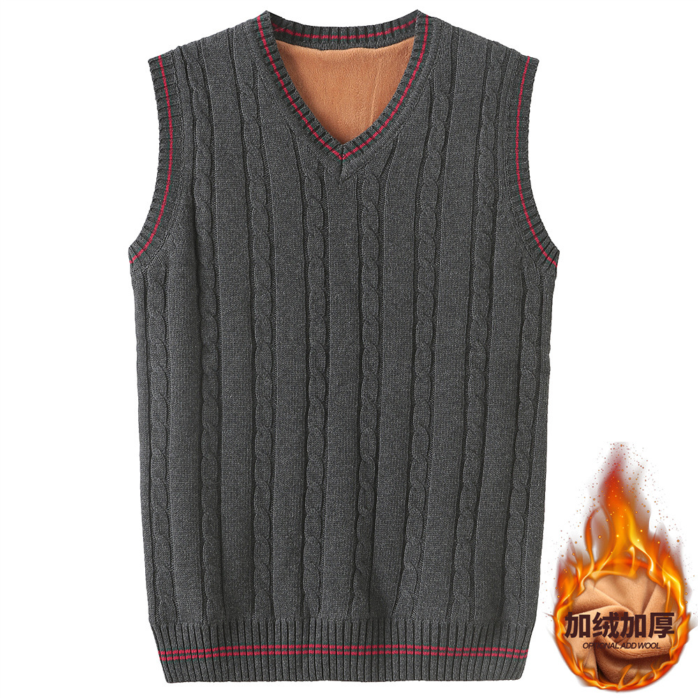 920 Thick Brushed Woolen Vest V-neck Men's Sleeveless Sweater Waistcoat Youth Yarn Waistcoat Knitted Vest