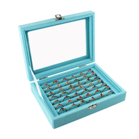 Neue 7 Stände Samt Blau Trage Fall mit Schloss Glas Abdeckung Schmuck Ring Display Box Tray Halter Storage Box Organizer 2020 heißer