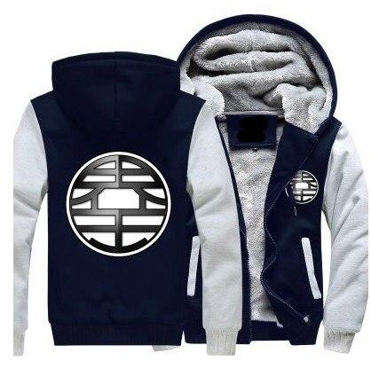 Зимние куртки и пальто Dragon Ball Z худи Аниме Сон Гоку с капюшоном Толстая молния мужские толстовки Длинный свитшот - 5