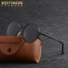 KEITHION Designer Steampunk Sun Glasses Female Retro Aluminum Magnesium Sunglasses Men Round Sunglasses Polarizes Oculos De Sol