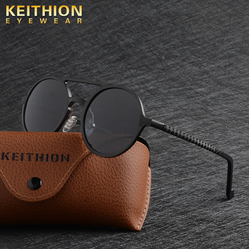 KEITHION Designer Steampunk Sun glasses Female Retro Aluminum magnesium Sunglasses Men Round Sunglasses Polarizes oculos de solMens Sunglasses   -