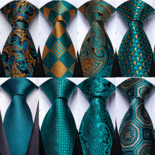 Gift Men Tie Cufflink-Tie-Set Wedding-Tie Silk Paisley Handky Business Teal Party Dibangu