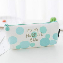Stationery Pencil-Bag Kawaii Gift School-Supplies Green Dot Round Big Peppermint Concise