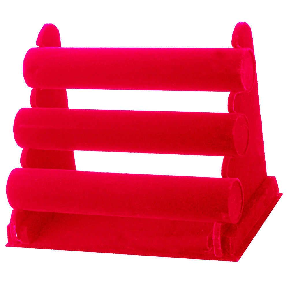 3 Tiers Destacável Velvet Jóias Display Shelf Organização Assista Pulseira Jóias Display Rack de Titulares de Armazenamento Organizador