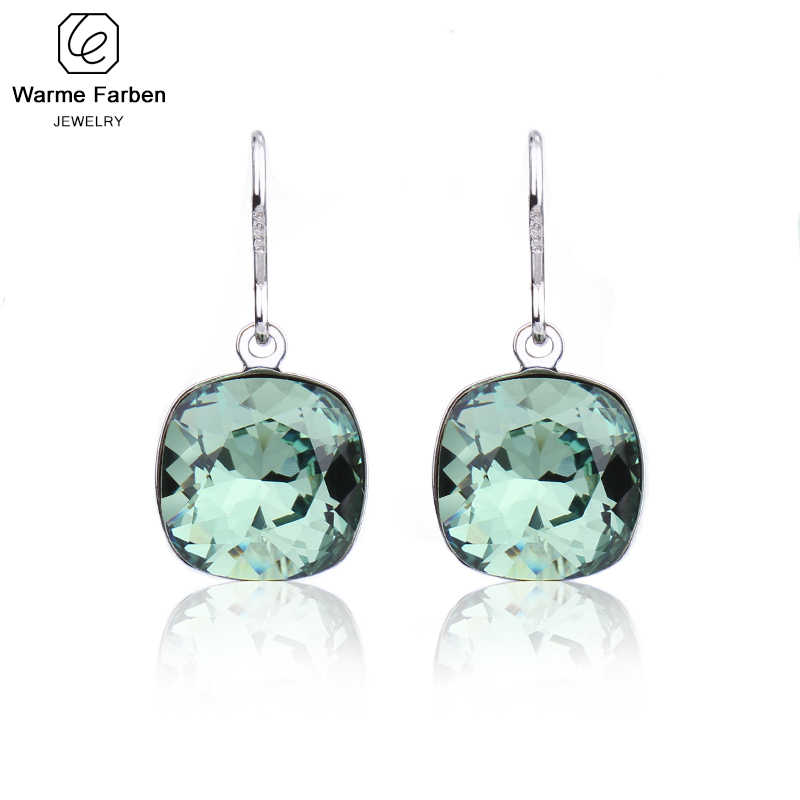 Warme Farben Earring for Women Made with Swarovski Crystal Elegant Square Pendant Drop Earrings Fine Jewelry Brincos for Female