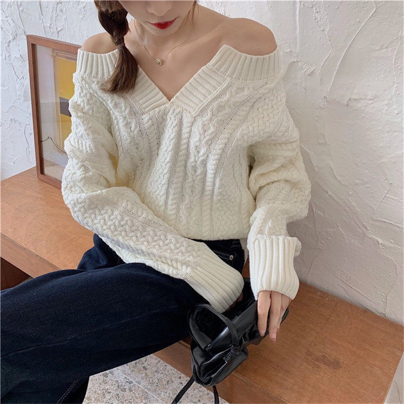 Focal20 Streetwear V Neck Solid Women Sweater Jumper Lady Style Loose Knitted Female Pullovers Tops Spring Autumn Lady Sweaters
