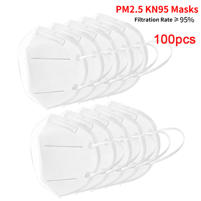 100pcs KN95 Mask Dust Masks Anti Flu Mask Prevent Anti Dusts PM2.5 Bacterium Safety Disposable Mask Face Mouth Masks Ship Fast