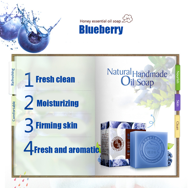 Blueberry Essential Oil Handmade Soap Acne Removal Blackhead Skin Whitening Deep Cleansing Face Wash Hair Care Bath Shower Soap 3