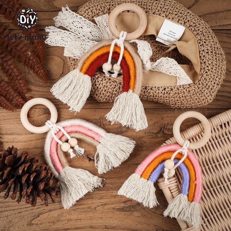Let's Make 1PC Baby Toys Bainbow Wooden Ring Rattles For Children Kids Toys For Toddlers Tassel Developmental Educational Beech
