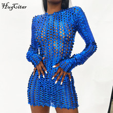 Hugcitar 2020 Long Sleeve Cut Out Solid Skinny Sexy Mini Dress Autumn Winter Women Fashion Party Club Elegant Outfits