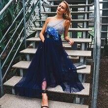 Vestido de baile longo 2020 elegante sempre bonito ep07404 sexy sem mangas sem costas a linha tule robe de soiree azul marinho vestido de festa