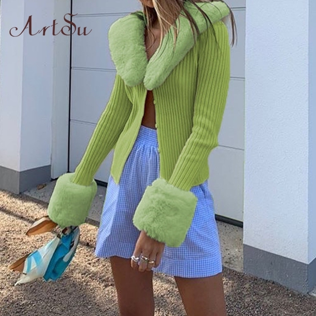 Artsu Ribbed Knitted Cardigans Sweaters With Fur Trim Collar Long Sleeve Slim Autumn Winter Jumpers Women Knitwear 42015 2