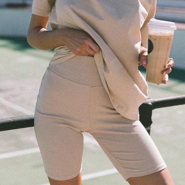 Solid Women Summer Cycling Bike Shorts Stretch Basic Short Black Female Pantalones Sweatpants Strike Bodycon Streetwear G1946 3