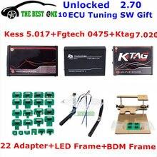 Онлайн 2,70 EU Red Kess V5.017 OBD2 + K-TAG KTAG V7.020 2,25 + Fgtech 0475 светодиодный LED BDM Рамка + 22 шт. адаптеров комплект ECU Программатор