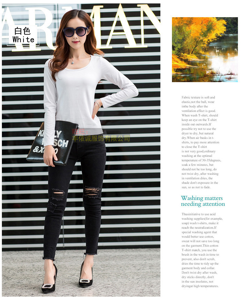 Autumn Outfit New Round Collar T-shirt Woman Pure Color Cultivate One's Morality Joker White Big Yards Long Sleeve Top
