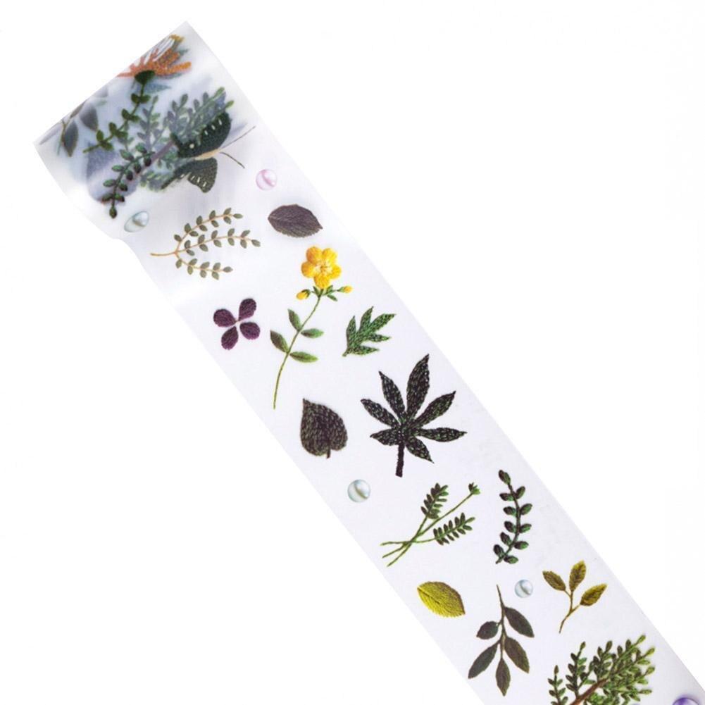 Vintage Wool Embroidery Flower Transparent Bullet Journal Washi Tape Scrapbooking Label Tape PET Adhesive Sticker Masking T U9J3