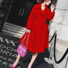 Wool Coat Women Outerwear Office Female Vintage Elegant Winter Work Casual Solid Mujer