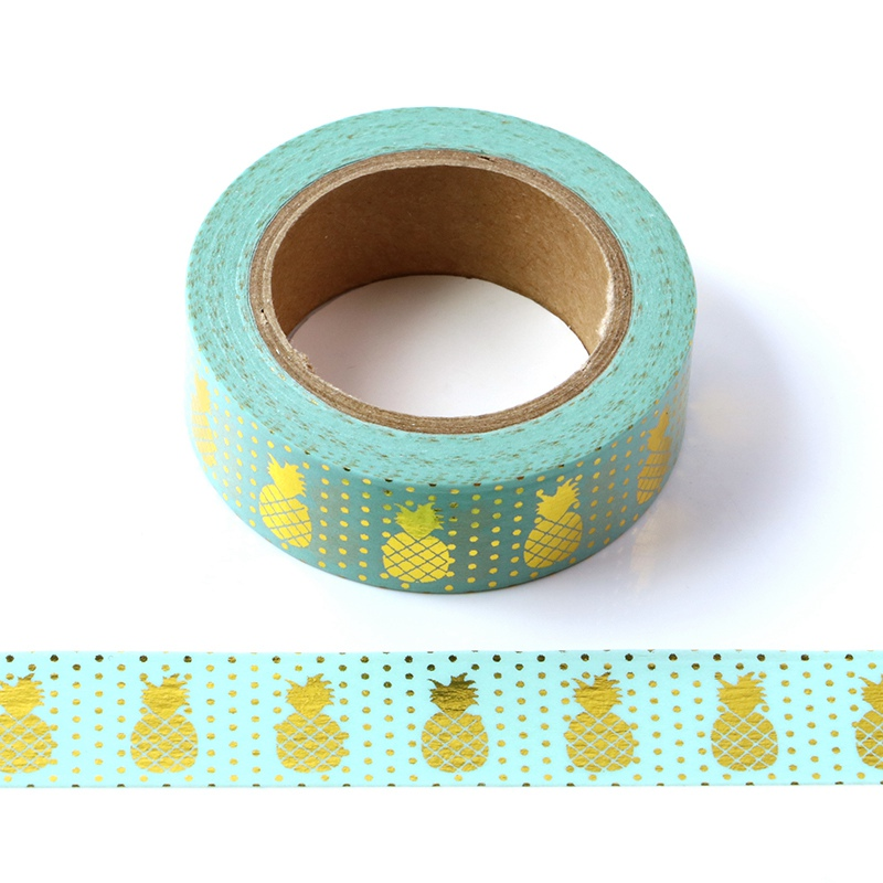 10M Decorative Gold Foil Washi Tape Mint Pineapple DIY Scrapbooking Sticker Label Japanese Masking Tape School Office Supply