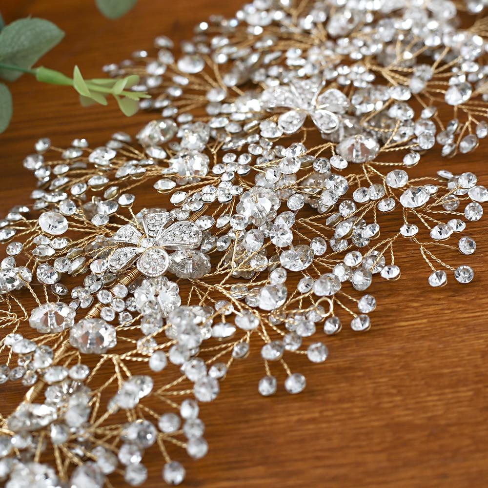 TRiXY H240-G Luxury Golden Bridal Crown Large Crystal Bridal Hair Tiara Wedding Headband Bridal Headpiece Bridal Hair Accessory