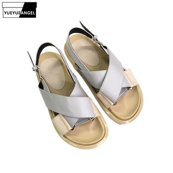 New Fashion Women Flats Platform Sandals Leisure Ankle Buckle Beach Sandals Summer Cross Strap Open Toe Leather Shoes Gladiator