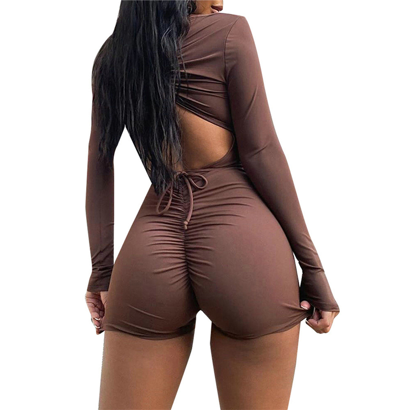 Women Sexy Skinny Jumpsuit Brown Long Sleeve Deep V neck Solid Color Tight One piece Backless Playsuit Romper  S/ M/ L/ XL