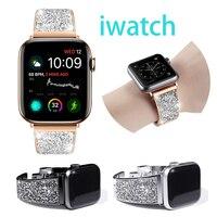 Correa de diamante para Apple Watch para mujer, bandas de 40mm y 38mm para IWatch Series 6, 4, 3, 5, banda de 44mm y 42mm, pulsera de acero inoxidable a la moda