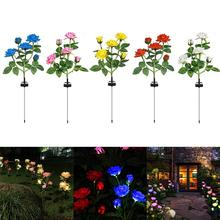 Lawn-Lamp Rose-Flowers-Lights Backyard Garden Outdoors Decorations LED Solar Waterproof