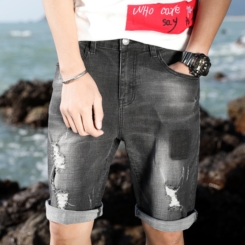 With Holes Denim Shorts Male Fifth Pants 2017 Summer Shorts Teenager Korean-style Summer Breeches 5 Straight-Cut Fashion