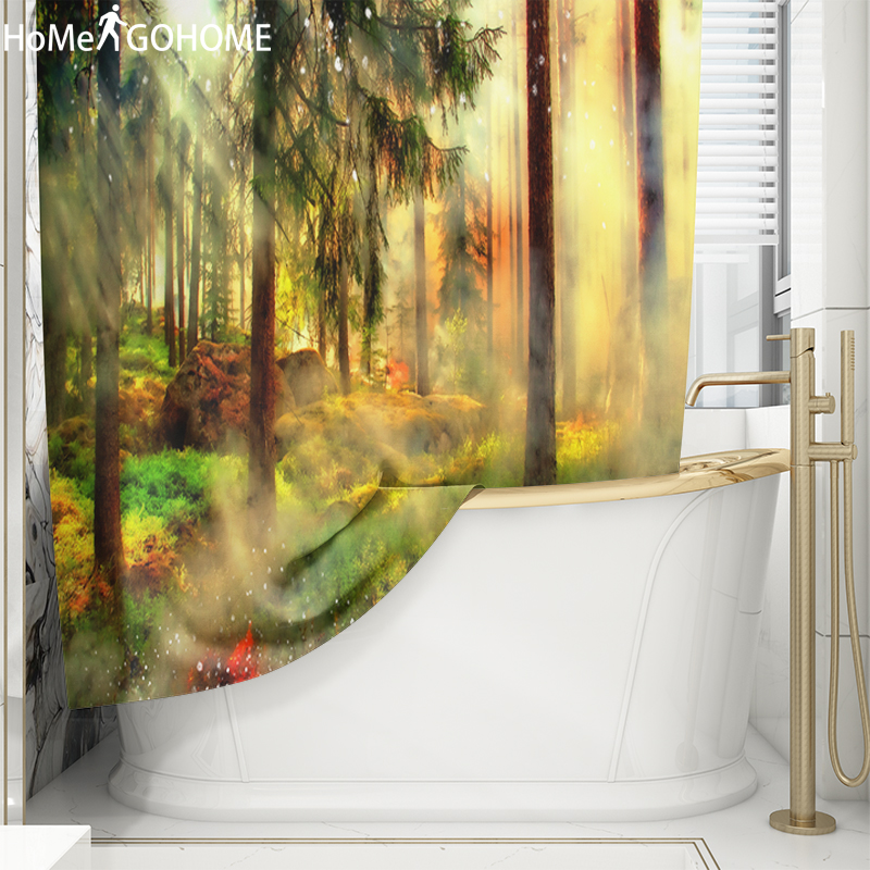 3D Bath Curtains Washable Bathroom Waterproof Polyester Fabric Shower Curtain Forest Trees Sunlight Screen with Hooks Large Size in Shower Curtains from Home Garden