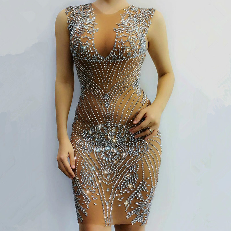 New Sexy Mesh See Through Luxury Crystals Diamonds Dress Women Evening Prom Party Dresses Celebrity Birthday Outfit Stage Wear