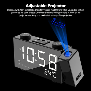 Image 5 - Projection Clock Digital Alarm Clock with Snooze Function Thermometer 87.5 108 MHz FM Radio USB/Batterys Power Table LED Clock