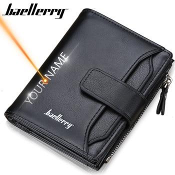 2019 Baellerry Men Wallets Fashion Short Desigh Zipper Card Holder Men Leather Purse Solid Coin Pocket High Quality Male Purse