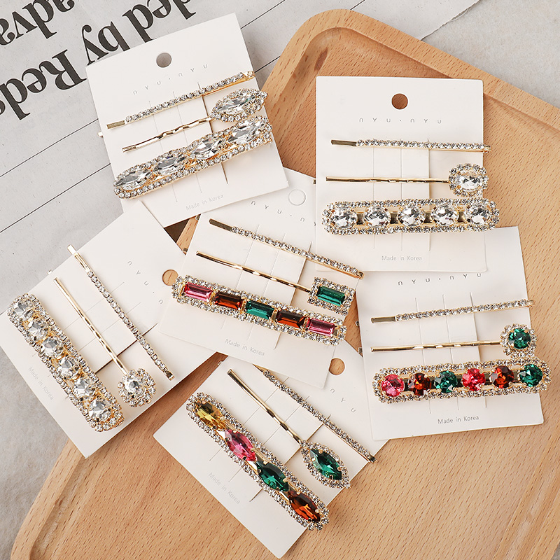 2020 New 3PCS/Set Women Luxury Shining Crystal Geometric Barrettes Sweet Hair Clips Headband Hairpins Fashion Hair Accessories