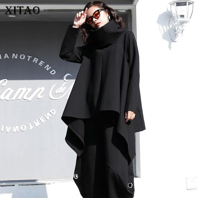 XITAO Tide необычная черная футболка женская одежда 2019 модное платье-водолазка с длинными рукавами футболка осень-зима GCC2549