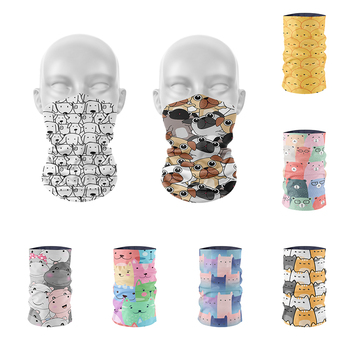 3D Printed Mini Layered Pattern Headscarf Women Autumn Ring Scarf Cute Animals Cats Dogs Pink Soft Elastic Bandana Hand Towel - discount item  47% OFF Scarves & Wraps