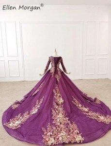 Image 4 - סגול ארוך שרוולי כדור שמלות ערב שמלות 2020 עבור נשים ללבוש צבעוני קריסטלים תחרה בציר מוסלמי אירוסין אירוע רשמי