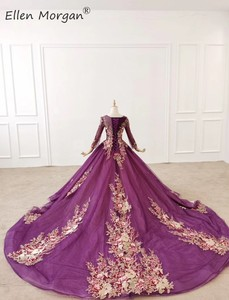Image 4 - Purple Long Sleeves Ball Gowns Evening Dresses 2020 for Women Wear Colorful Lace Crystals Vintage Muslim Engagement Event Formal
