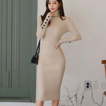 Korean Fashion Sweater Dress Women Sweaters Dresses Elegant Women Turtleneck Dresses Woman High Waist Bodycon Dress OL Pullovers thumbnail