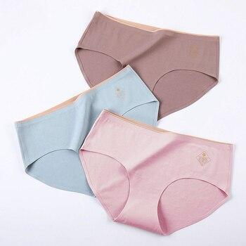 Perfering bragas de algodón para mujer 1 pieza ropa interior de colores sólidos Braga transpirable moda ropa interior femenina bragas talla grande 4XL