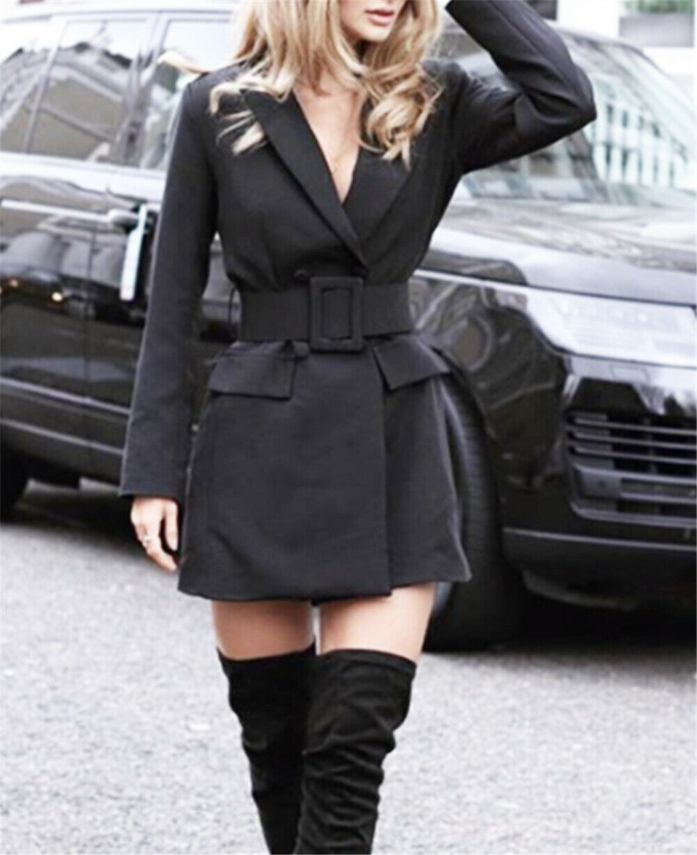 Autumn Women Fashion Solid Casual Coat Short Bodycon Lapel Blazer Double Breasted Long Sleeve V-neck Work Dress With Belt